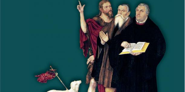 Das Cover des Buches zeigt einen Ausschnitt des Cranach-Altars in der Weimarer Stadtkirche St. Peter und Paul: Christus als Lamm Gottes, Johannes den Täufer, Lucas Cranach den Älteren sowie Martin Luther (v.links)