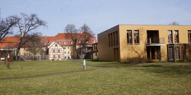 Kubus der Evangelischen Akademie Thüringen im Zentrum des Zinzendorfhauses Neudietendorf. Foto: © Sebastian Tischer