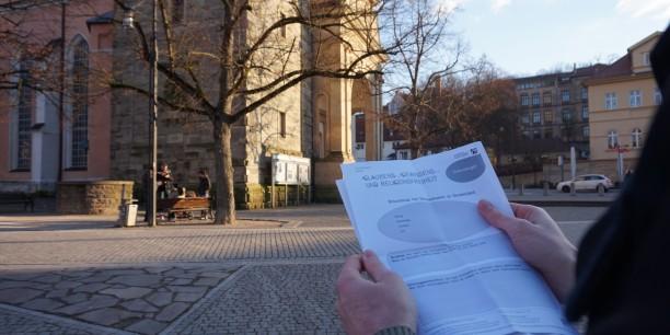 Beobachtung und Erkundung zum Thema Religionsfreiheit in Eisenach: Welche Religionsgemeinschaften sind im öffentlichen Raum sichtbar? Foto: ©Désirée Reuther/ EAT