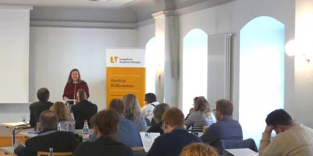 """Heike Werner, Thüringer Ministerin für Arbeit, Soziales, Gesundheit, Frauen und Familie auf der Tagung """"Grenzenlos 4.0?""""."""