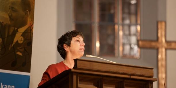 Professorin Dr. Dr. h.c. Margot Käßmann sprach auf der Tagung zum gleichnamigen Band 2015 in Jena. Auch Sie hat einen Beitrag in der Publikation verfasst. Foto: ©Tina Peißker