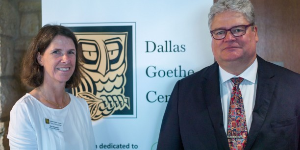 Prof. Dr. Michael Haspel und Nicola Bremer vom Dallas Goethe Centre. Foto:©Hanns Christian Hanebeck
